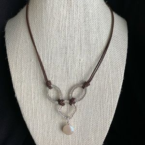 Silpada Leather Sterling & Fresh Water Coin Pearl